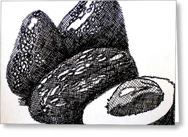 Positive Negative Design Greeting Cards - Crosshatched Avocados Greeting Card by Debi Starr