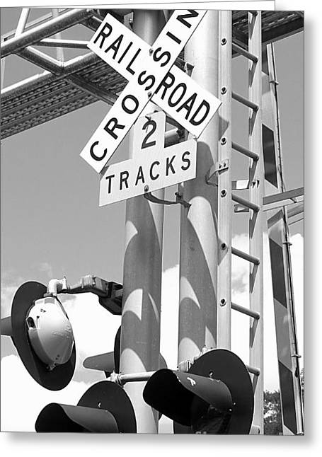 Train Crossing Greeting Cards - crossing BW Greeting Card by Tonya Cribbs