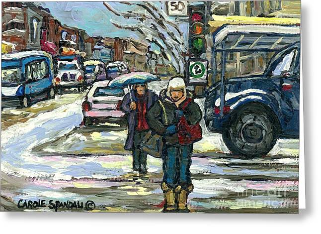 Ste Catherine Greeting Cards - Crossing Cote Ste.catherine Winter Snow Day Canadian Urban Landscape Art Best Montreal Paintings Greeting Card by Carole Spandau