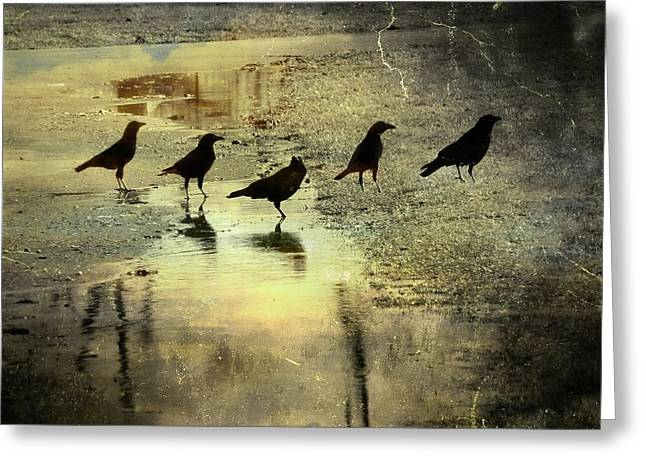 Crow Image Greeting Cards - Crossing Greeting Card by Gothicolors Donna Snyder