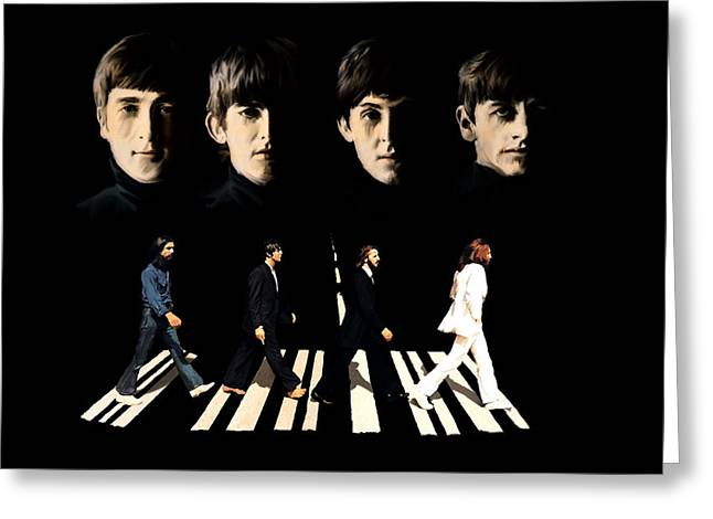 Paul Mccartney Drawings Greeting Cards - Crossing Into History The Beatles  Greeting Card by Iconic Images Art Gallery David Pucciarelli