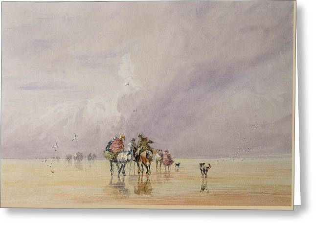 Crossing Lancaster Sands Greeting Card by David Cox