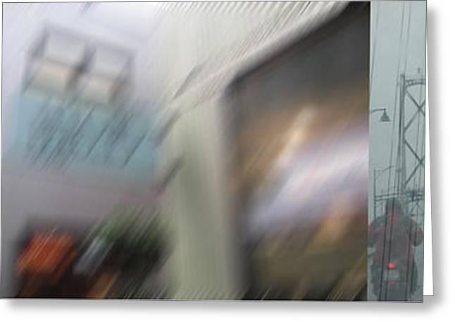 Lions Gate Bridge Digital Greeting Cards - Crossing Lions Gate in Rain Greeting Card by Gretchen Wrede