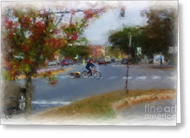 Main Street Greeting Cards - Crossing Maine Street 1062 20141003 Greeting Card by Julie Knapp