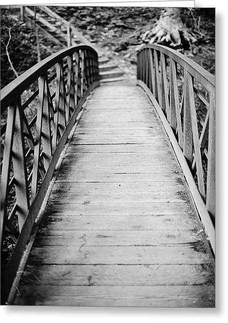 Crossing Over Greeting Cards - Crossing Over - Black and White Greeting Card by Terry DeLuco