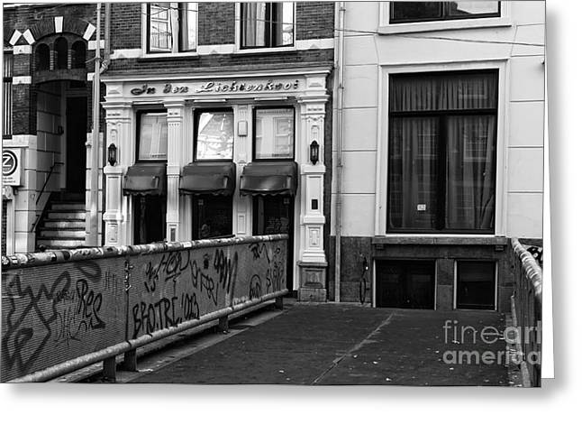 Crossing Over Greeting Cards - Crossing Over in Amsterdam mono Greeting Card by John Rizzuto