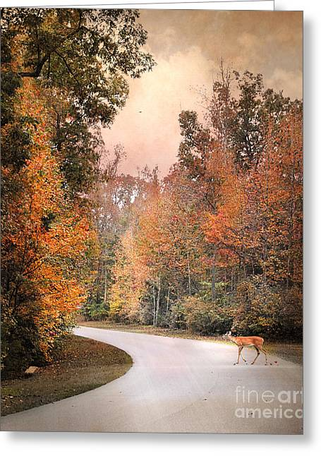 Fall Scenes Greeting Cards - Crossing Over Greeting Card by Jai Johnson