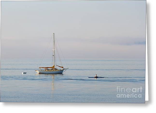 Sailboat Photographs Greeting Cards - Crossing Paths Greeting Card by Mike  Dawson