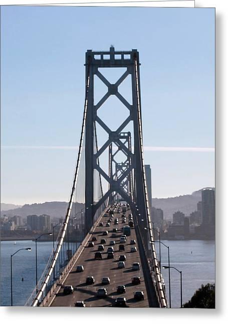 Crossing The Bay Bridge  Greeting Card by Dee  Savage
