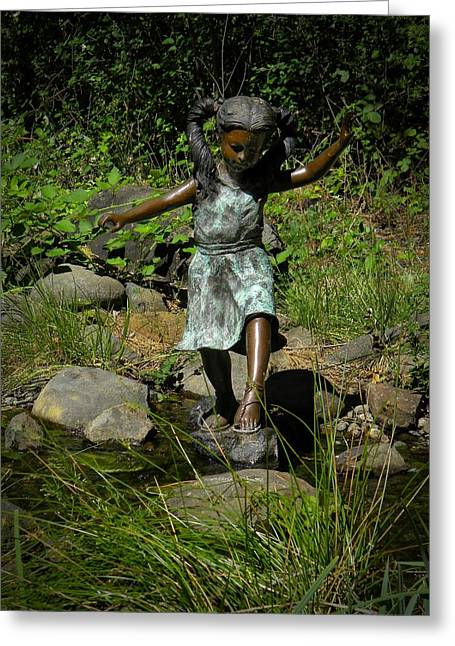 Garden Statuary Greeting Cards - Crossing The Brook Greeting Card by Frank Wilson