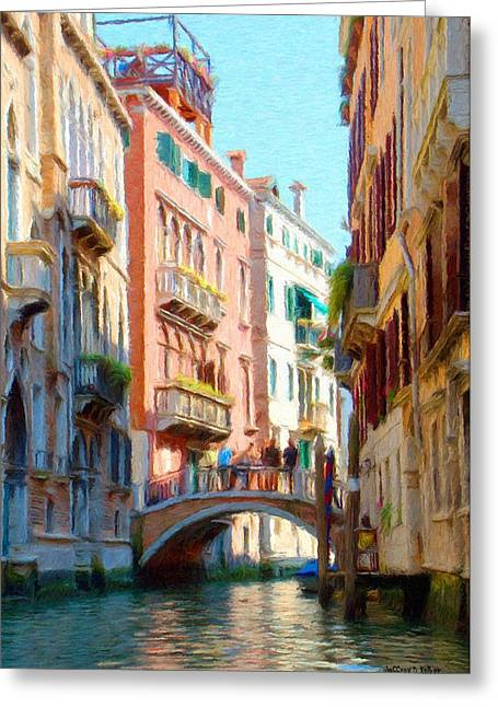 Canal Greeting Cards - Crossing the Canal Greeting Card by Jeff Kolker