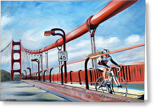 Golden Gate Paintings Greeting Cards - Crossing the Chasm Greeting Card by Colleen Proppe