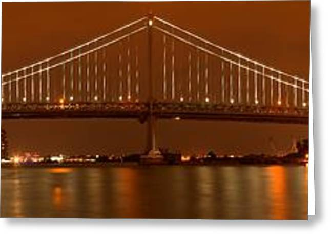 Famous Bridge Greeting Cards - Crossing The Delaware At Night Greeting Card by Adam Jewell