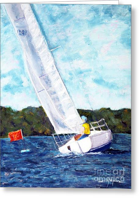 Blue Sailboat Pastels Greeting Cards - Crossing the Finish Line Greeting Card by Shelley Koopmann