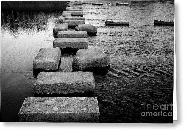 Stepping Stones Greeting Cards - Crossing the Kamo River Greeting Card by Dean Harte