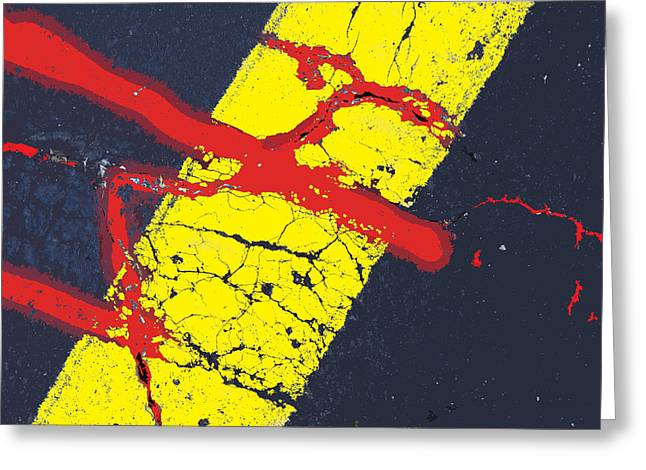 Yellow Line Greeting Cards - Crossing the Line Greeting Card by John Lautermilch