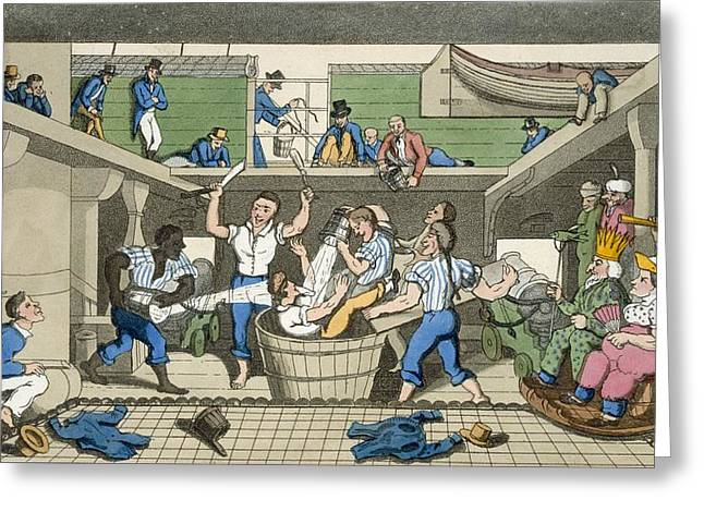 Joke Drawings Greeting Cards - Crossing The Line, Plate From The Greeting Card by Thomas Rowlandson