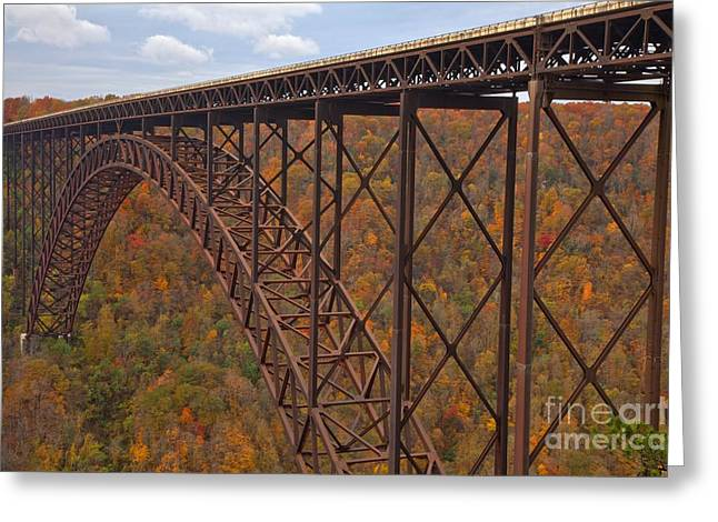 Famous Bridge Greeting Cards - Crossing The New River Gorge Greeting Card by Adam Jewell