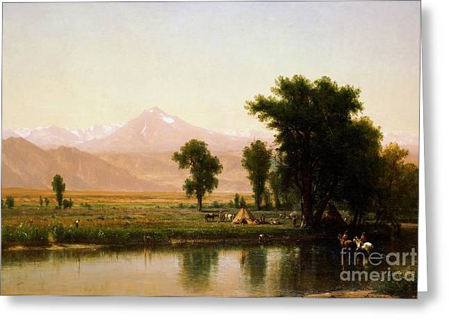 C.1870 Greeting Cards - Crossing The River Platte Greeting Card by Pg Reproductions