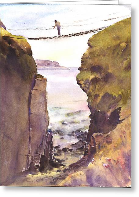 Www Greeting Cards Greeting Cards - Crossing the Rope Bridge County Antrim Greeting Card by Keith W Thompson