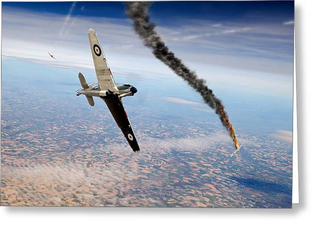 Fighter Ace Greeting Cards - Crossing the Siegfried Line RAF Hurricane and Luftwaffe Bf109 dogfight Greeting Card by Gary Eason