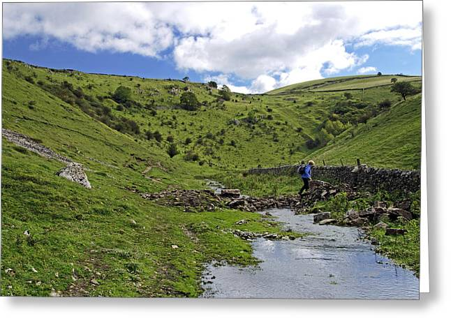 England Greeting Cards - Crossing the Stream in Cressbrook Dale Greeting Card by Rod Johnson