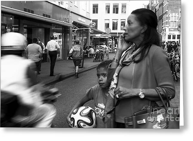 Little Boy Greeting Cards - Crossing the Street mono Greeting Card by John Rizzuto