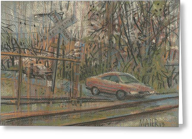 Railroad Tracks Greeting Cards - Crossing the Tracks Greeting Card by Donald Maier