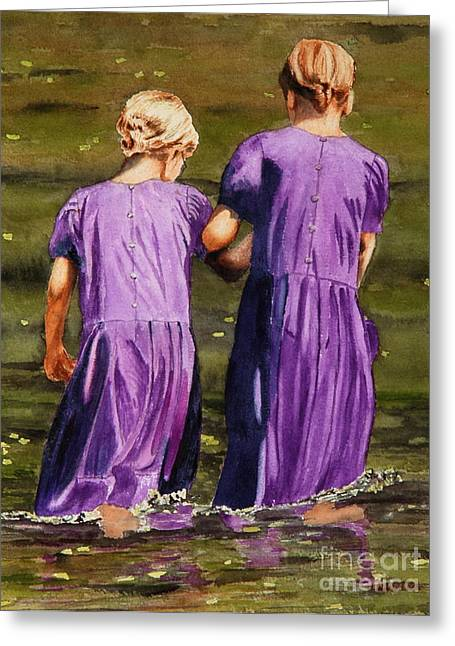 Amish Paintings Greeting Cards - Crossing The Water Greeting Card by John W Walker