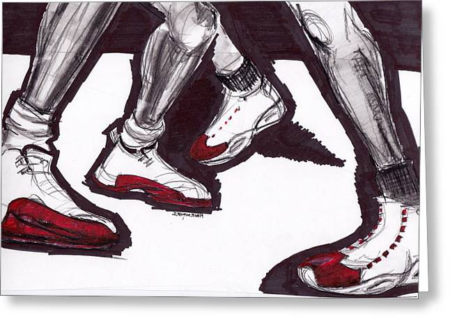 Michael Jordan Greeting Cards - Crossover Greeting Card by Dallas Roquemore