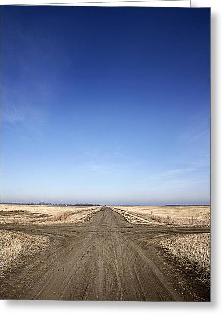 Country Dirt Roads Greeting Cards - Crossroads Greeting Card by Donald  Erickson