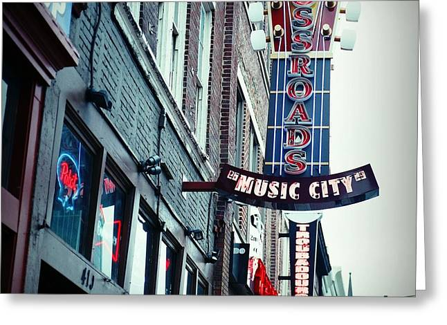 Nashville Downtown Greeting Cards - Crossroads Greeting Card by Linda Unger