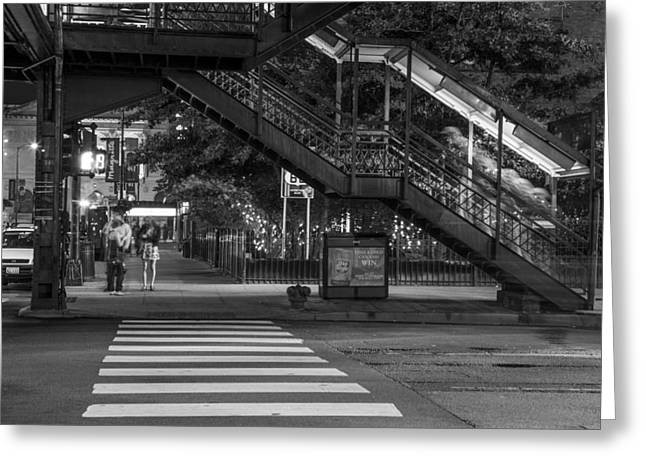Crosswalk Greeting Cards - Crosswalk and L in Chicago Greeting Card by John McGraw