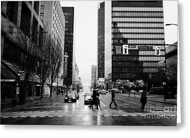 Crosswalk Greeting Cards - crosswalk at west georgia and hornby downtown in the rain Vancouver BC Canada Greeting Card by Joe Fox