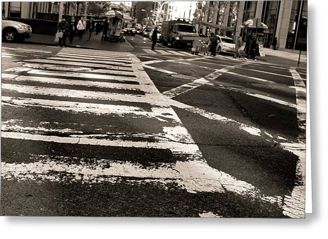 New Mind Greeting Cards - Crosswalk In New York City Greeting Card by Dan Sproul