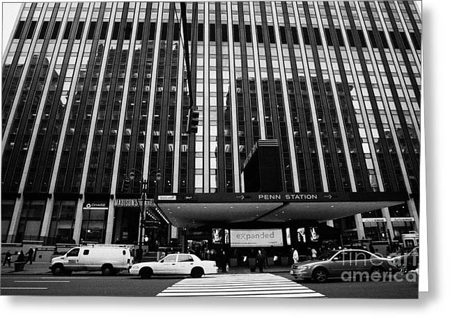 Manhaten Greeting Cards - Crosswalk Leading To Penn Station And Madison Square Garden Seventh Avenue New York City Greeting Card by Joe Fox