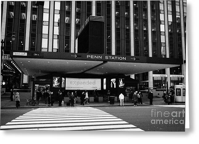 Crosswalk Leading To Penn Station And Madison Square Garden Seventh Avenue New York Greeting Card by Joe Fox