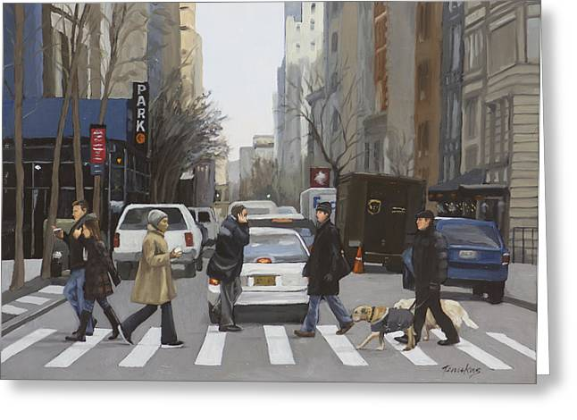 Street Scenes Greeting Cards - Crosswalk Greeting Card by Linda Tenukas
