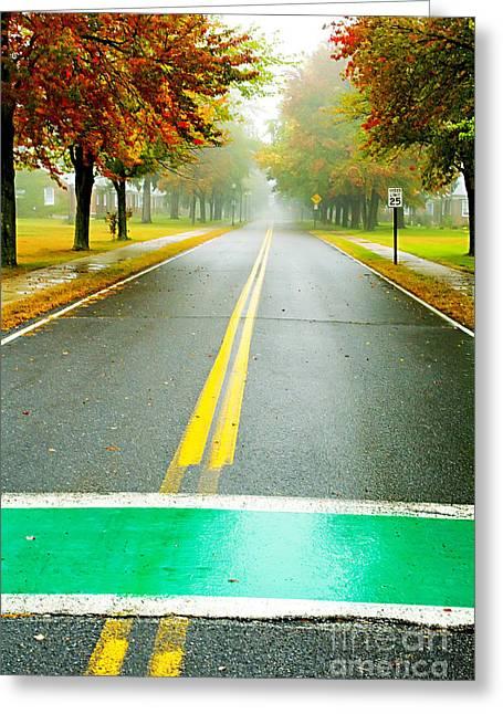 Crosswalk Greeting Cards - Crosswalks in Autumn Greeting Card by Katya Horner
