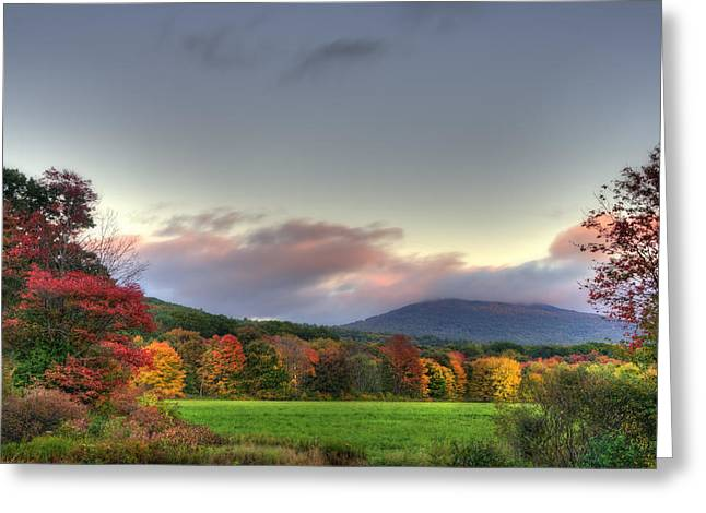 Fall Foliage Photographs Greeting Cards - Crotched Mountain Autumn Sunset Greeting Card by Joann Vitali