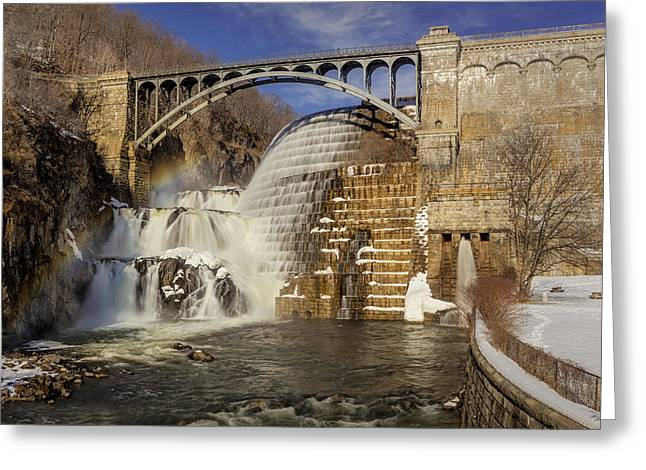 Watershed Greeting Cards - Croton Dam And Rainbow Greeting Card by Susan Candelario