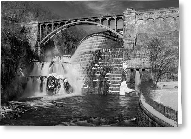 Watershed Greeting Cards - Croton Dam BW Greeting Card by Susan Candelario