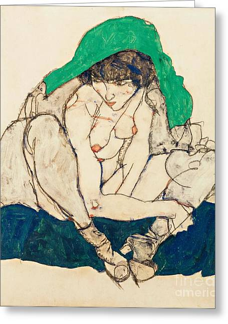 Schiele Drawings Greeting Cards - Crouching Girl with green shawl Greeting Card by Pg Reproductions