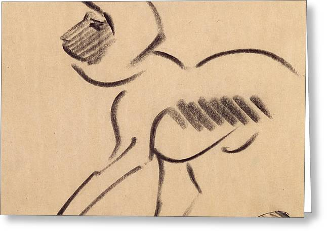 Nature Study Greeting Cards - Crouching Monkey Greeting Card by Henri Gaudier-Brzeska