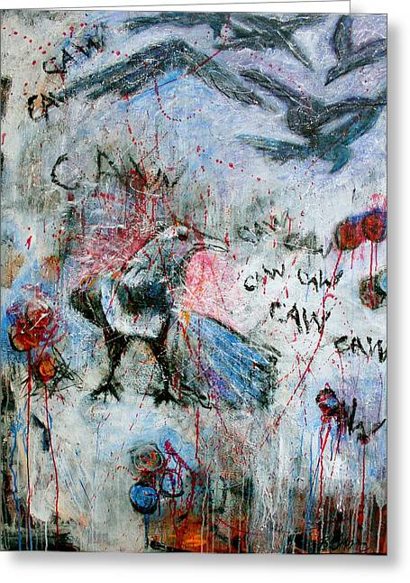 Crow Mixed Media Greeting Cards - Crow 1 Greeting Card by Betty OHare