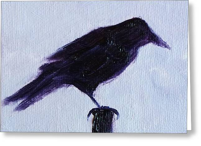 Vicious Greeting Cards - Crow #1 Greeting Card by Nancy Merkle