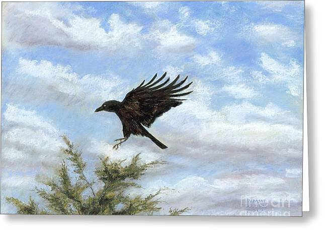 Red Cedar Greeting Cards - Crow and Red Cedar  Greeting Card by Jymme Golden