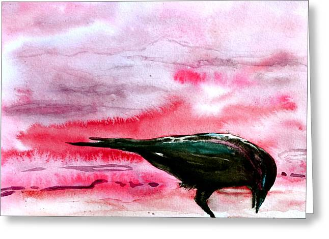 Haze Paintings Greeting Cards - Crow At Dawn Greeting Card by Beverley Harper Tinsley