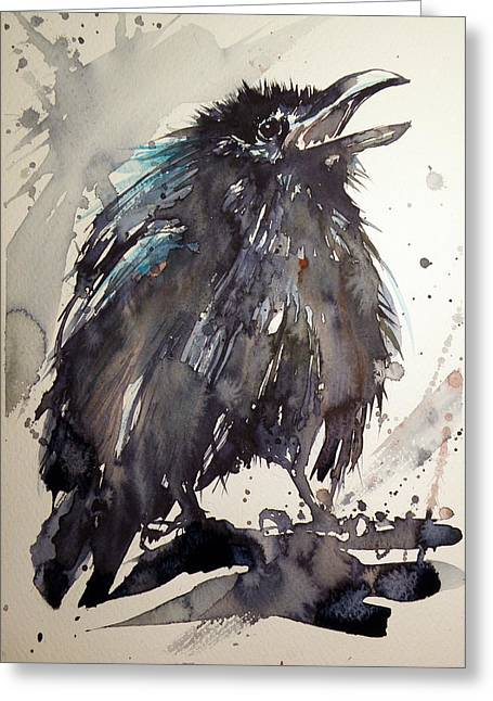 Baby Bird Greeting Cards - Crow baby Greeting Card by Kovacs Anna Brigitta