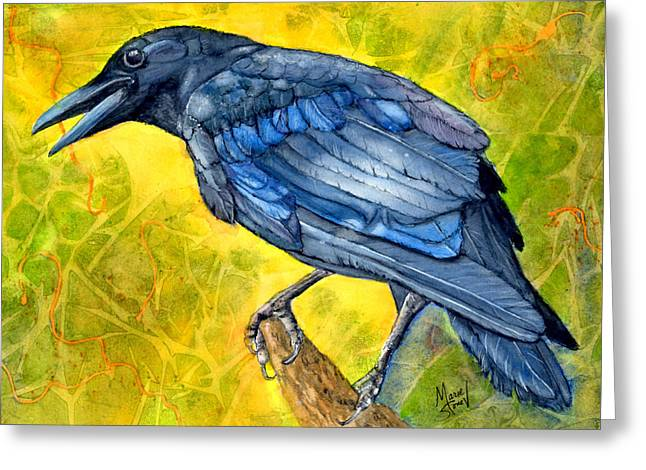 Crow Cards Greeting Cards - Crow Call Greeting Card by Marie Stone Van Vuuren
